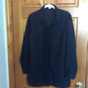 Sheer Navy button down blouse. Sheer with design